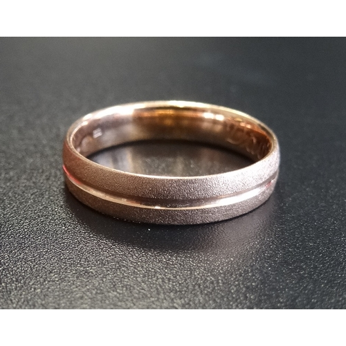 41 - FOURTEEN CARAT GOLD WEDDING BAND with brushed finish, ring size L and approximately 2.3 grams