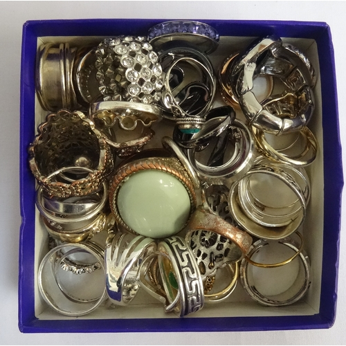 48 - SELECTION OF SILVER AND OTHER RINGS of various sizes and designs, including turquoise and other ston...