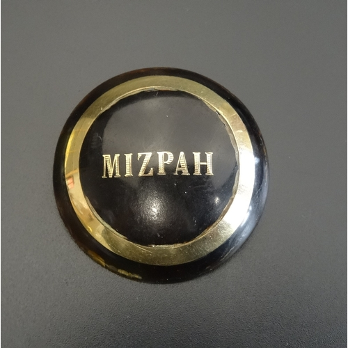 63 - CIRCULAR TORTOISESHELL MIZPAH BROOCH with unmarked gold inlaid detail - RETURNED...