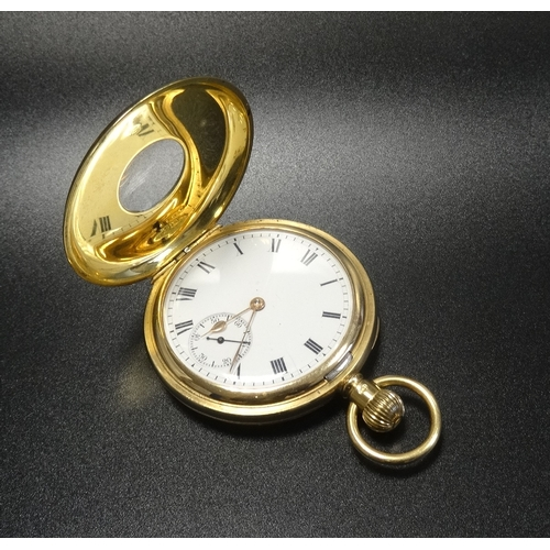 101 - WALTHAM 18 CARAT YELLOW GOLD HALF HUNTER POCKET WATCH with a keyless winding movement marked '19 Jew...