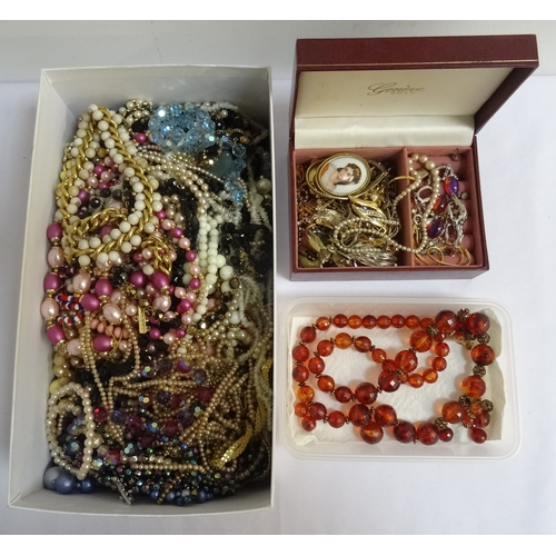 103 - COLLECTION OF COSTUME JEWELLERY mainly necklaces and pendant necklaces, brooches noted, 2 boxes...