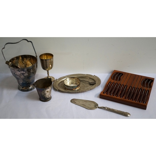 138 - LOT OF SILVER PLATED WARES includes a set of twelve teaspoons and tongs in fitted case, ice bucket w...