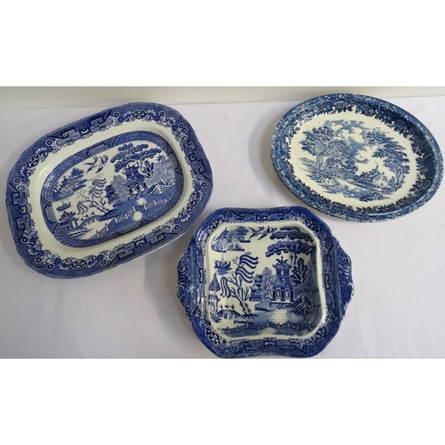 146 - BRITANNIA POTTERY CO. LTD OF GLASGOW Willow pattern shaped serving dish, 34.5cm wide, together with ...