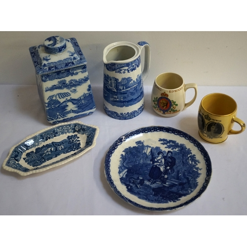 148 - SELECTION OF BLUE AND WHITE CERAMICS including a Copeland Spode jug and square shaped plate, a shape...