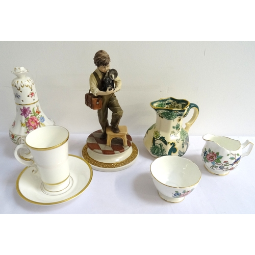 164 - MIXED LOT OF CERAMICS including a Royal Worcester coffee can and saucer decorated with a gilt harp, ...