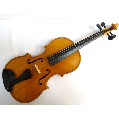 243 - VIOLIN full size with two piece back, bearing 'Artia- Excelsior made for Boosey & Hawkes and Besson ...