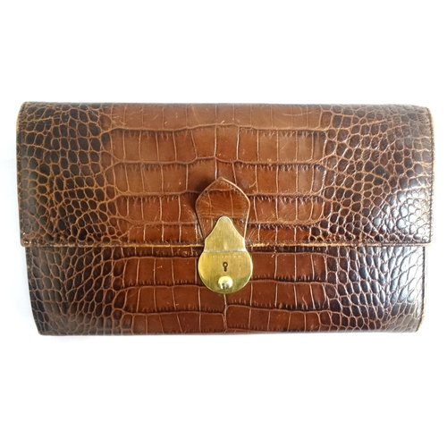 249 - SMYTHSON OF BOND STREET LEATHER TRAVEL DOCUMENT WALLET in crocodile print brown leather, the fitted ...