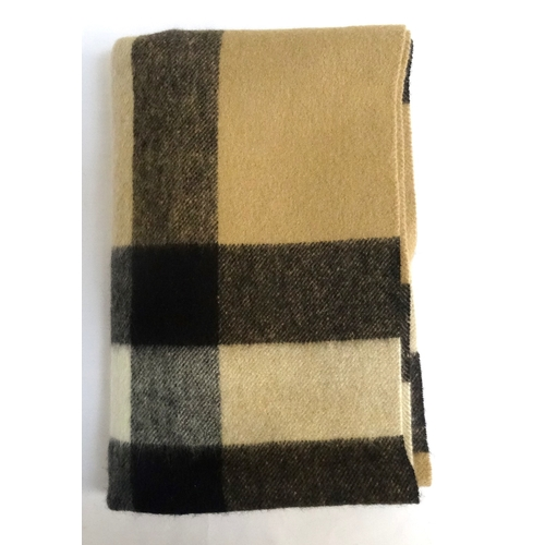 253 - BURBERRY 100% CASHMERE SCARF in traditional check design, 200cm x 36cm...