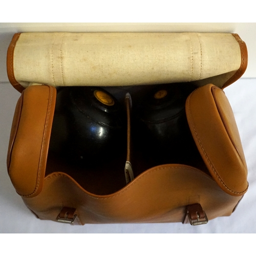 258 - SET OF EBONIZED INDOOR BOWLS with central yellow discs marked J. Lennie, size 3, in carry case...