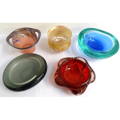 176 - DANISH HOLMEGAARD SHAPED GLASS DISH of oval form with an irregular lip, 16.5cm wide; an irregular bl...