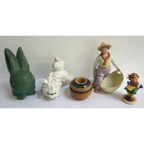 177 - MIXED LOT OF CERAMICS including a Wedgwood grey Jasperware St. George And The Dragon plate, a blanc ...