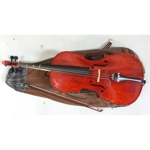 247 - CELLO 'The Stentor Student', 71cm back, with bow and vintage canvas carrying bag...