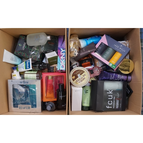 2 - TWO BOXES OF USED AND NEW TOILETRY ITEMS includingL DKNY; DIOR; CALVIN KLEIN; HUGO BOSS; FCUK; JACK ...