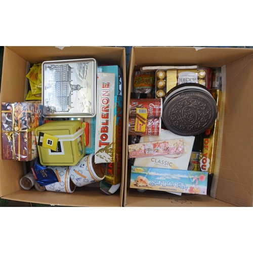 6 - TWO BOXES OF CONSUMABLE ITEMS including: HARIBO; TOBLERONE; FERRERO ROCHER; STROOPWAFFELS; OREO COOK...
