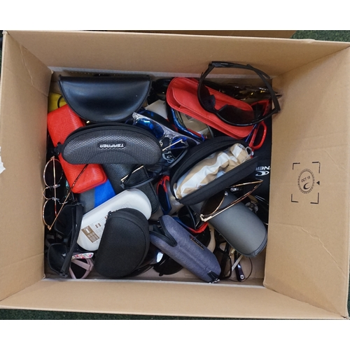 8 - ONE BOX OF BRANDED AND UNBRANDED SUNGLASSES Note: May include prescription lenses....