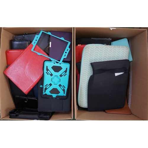 10 - TWO BOXES OF PROTECTIVE CASES including: LAPTOP CASES; PHONE CASES; TABLET CASES; HEADPHONE CASES; E...