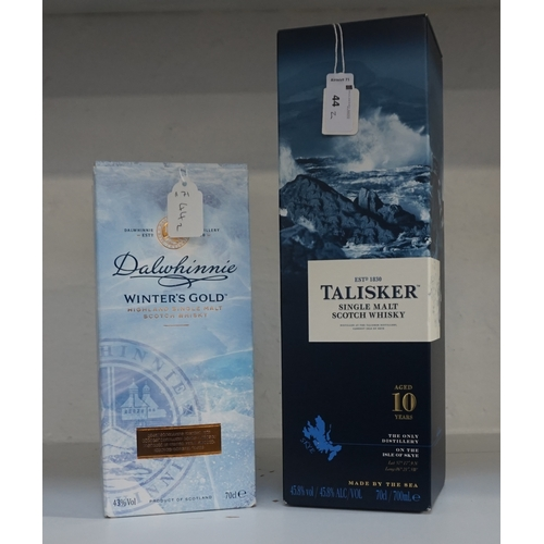 44 - TWO SINGLE MALT SCOTCH WHISKIES comprising: one TALISKER 10 YEAR OLD SINGLE MALT SCOTCH WHISKY (70cl...