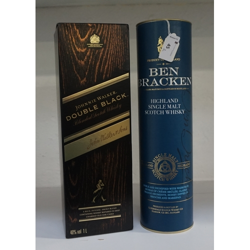 45 - TWO SCOTCH WHISKIES comprising: one JOHNNIE WALKER DOUBLE BLACK BLENDED SCOTCH WHISKY (1 Litre/ 40% ...