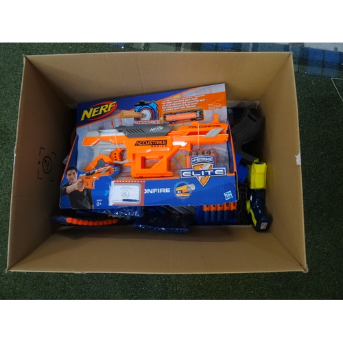 55 - ONE BOX OF KID'S TOYS including Nerf Guns, other toy guns, water pistols, etc., 1 box...
