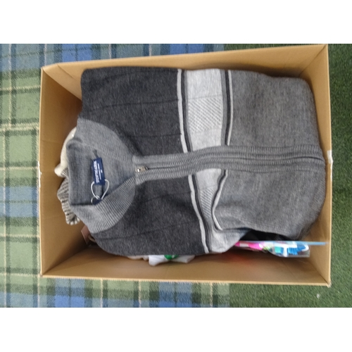 58 - ONE BOX OF NEW ITEMS including power bank, Adids baseball cap, ladlies and men's clothing, toothbrus...