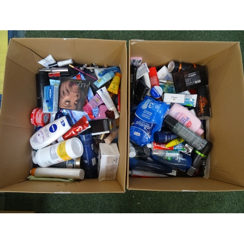 59 - TWO BOXES OF NEW AND USED TOILETRIES  including Dove, Lancome, Valentino, DKNY, Jean Paul Gautier, L...