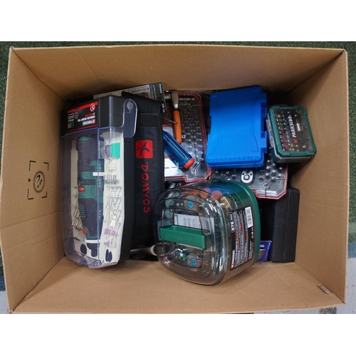 29 - ONE BOX OF VARIOUS USED AND NEW TOOLS including cordless rotary tool, mini tool accessory set, socke...