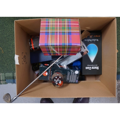 30 - ONE BOX OF MISCELLANEOUS ITEMS including weather predictor, snow globes, volcano light, bicycle lock...