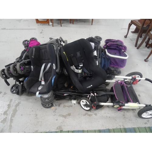 42 - A SELECTION OF EIGHT PRAMS AND BUGGIES  including 2 Car seats, Silver Cross, Maxi Cosy, Cuggl, Mamas...