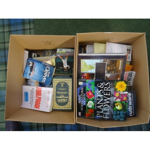 45 - TWO BOXES OF BOOKS including hardbacks and paperbacks...