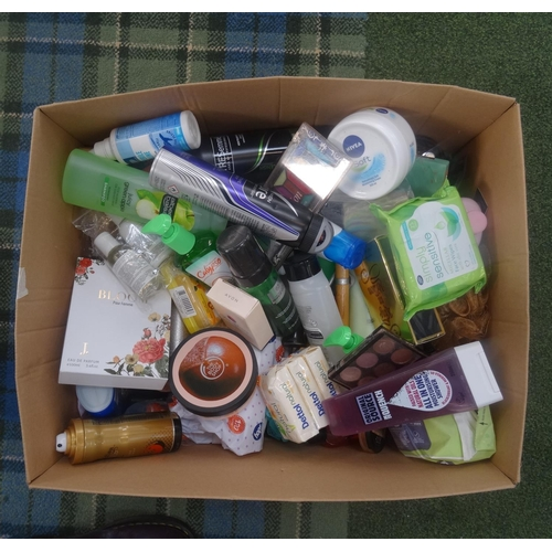 48 - ONE BOX OF USED AND NEW TOILETRY ITEMS including Alberto Balsam, Jo Malone, Body Shop, Ralph Lauren,...