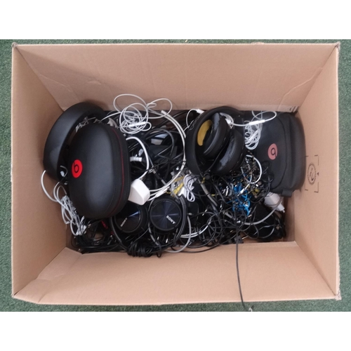 50 - ONE BOX OF CABLES, CONNECTORS AND HEADPHONES...