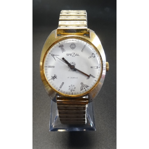 13 - GENTLEMAN'S MASONIC 'SPEZIAL' WRISTWATCH Swiss made, with emblems at number points, with expanding s...
