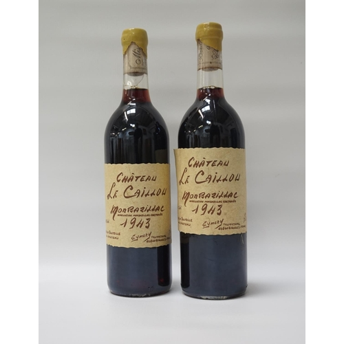 10 - CHATEAU LE CAILLOU MONBAZILLAC 1943 Two bottles of Eymery Chateau Le Caillou Monbazillac 1943.  75cl...