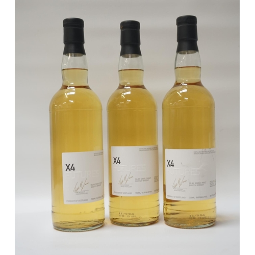123 - THREE BOTTLES BRUICHLADDICH FUTURES X4 A trio of bottles of Bruichladdich Islay Futures x4 Single Ma...