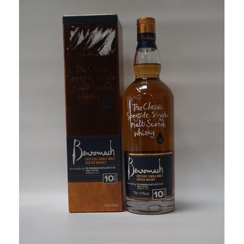 128 - BENROMACH 10YO A bottle of the Benromach 10 Year Old Single Malt Scotch Whisky.  70cl.  43% abv.  Fr...