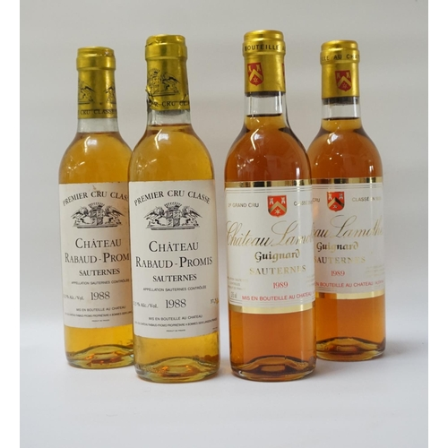 158 - FOUR BOTTLES OF VINTAGE SAUTERNES Examples of Vintage Sauternes from two classic producers.  Two bot...