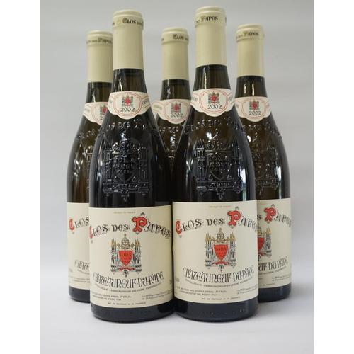 162 - CLOS DES PAPES CHATEAUNEUF-DU-PAPE 2002 Five bottles of the lesser known Clos des Papes Chateauneuf-...