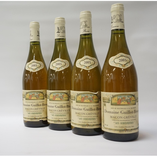 173 - DOMAINE GUILLOT-BROUX MACON-GREVILLY 2003 Four bottles of Domaine Guillot-Broux