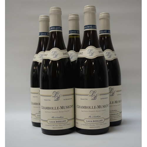 174 - LOUIS BOILLOT CHAMBOLLE-MUSIGNY 2002 Five bottles of Chambolle-Musigny 2002 Vintage Bourgogne Wine. ...
