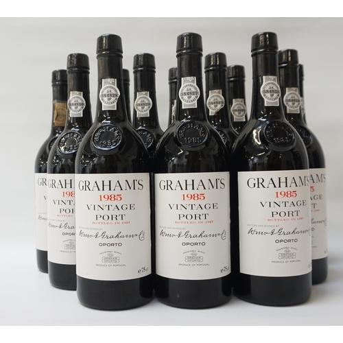 192 - GRAHAM'S 1985 VINTAGE PORT  A case of 12 bottles of Grahams 1985 Vintage Port.  75cl.  No strength s...