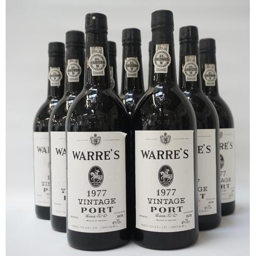 199 - WARRE'S 1977 VINTAGE PORT Nine excellent bottles of Warre's 1977 Vintage Port.  75cl.  No strength s...
