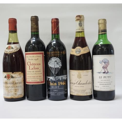 202 - SELECTION OF FIVE BOTTLES OF RED WINE comprising: one ANTONIN GUYON GEVREY-CHAMBERTIN 1978.  750ml. ...