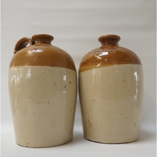 213 - TWO LATE VICTORIAN STONEWARE GLAZED WHISKY FLAGONS A pair of stoneware glazed Whisky flagons (approx...