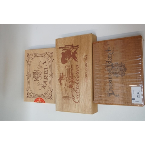 214 - SELECTION OF CIGARS Three boxes of cigars, comprising: one sealed box of 20 Treasure Island Brazilli...