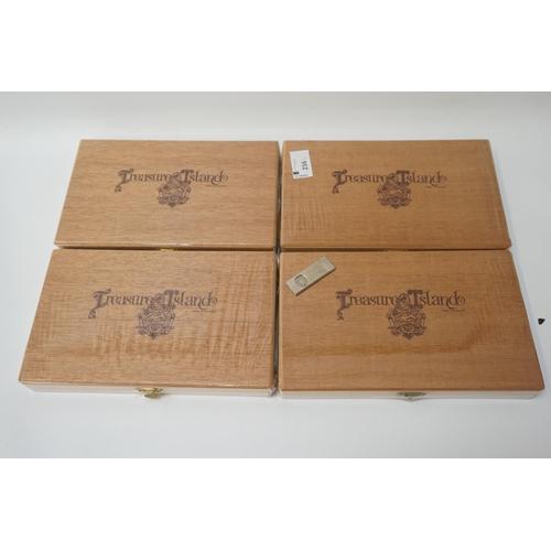 216 - FOUR SEALED BOXES OF CORONAS CIGARS Four sealed boxes of 10 Treasure Island Flavoured Coronas in tub...