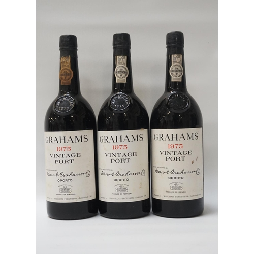 3 - GRAHAMS 1975 VINTAGE PORT A trio of bottles of Vintage Port from the renowned W & J Graham, Oporto. ...