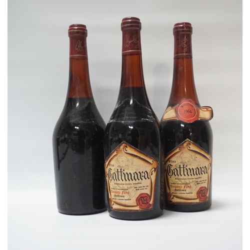 32 - VINO GATTINARA VINTAGE 1964 Three bottles of Umberto Fiore Vino Gattinara Vintage 1964.  3 x 72cl.  ...