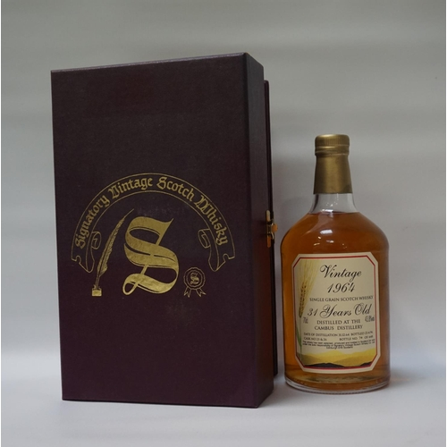 39 - CAMBUS 1964 - SIGNATORY A fine old bottle of the Cambus 1964 Vintage 31 Year Old Single Grain Scotch...