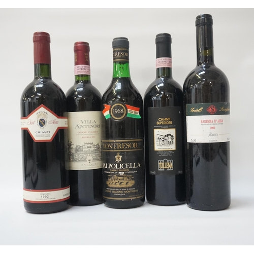 42 - SELECTION OF FIVE BOTTLES OF ITALIAN WINE comprising: one MONTRESOR VALPOLICELLA 1968 VINTAGE, 72cl,...