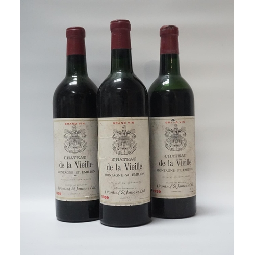 46 - CHATEAU DE LA VIEILLE MONTAGNE-ST. EMILION 1959 Three bottles of aged wine from Grants of St. James....